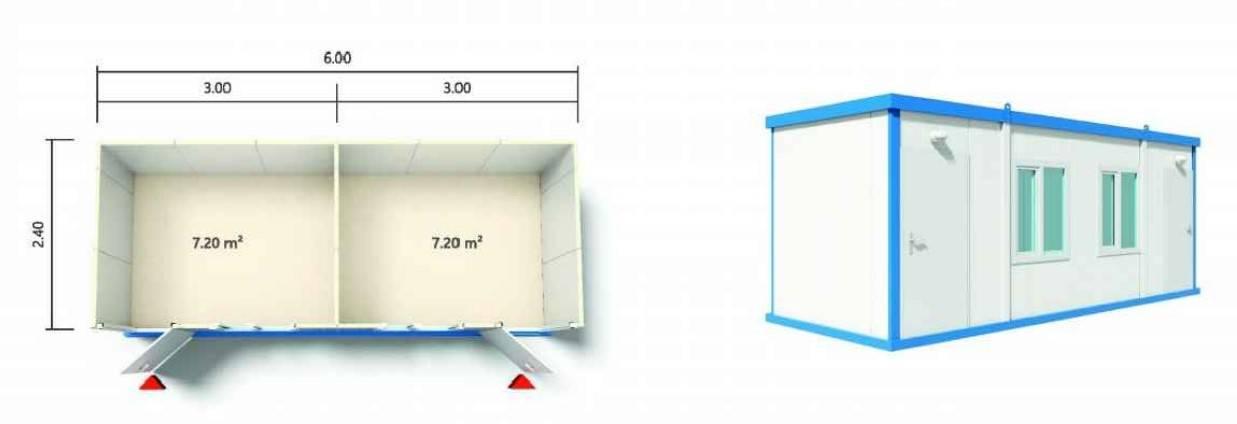 מכולה מחולקת ל 2 בגודל 6*2.40