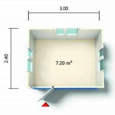 """7.20 מ""""ר - שרטוט מכולת מחסן 3*2.40"""