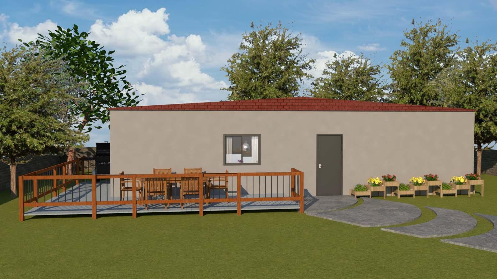 """מבנה נייד למגורים בגודל 45 מ""""ר - מבט חוץ"""