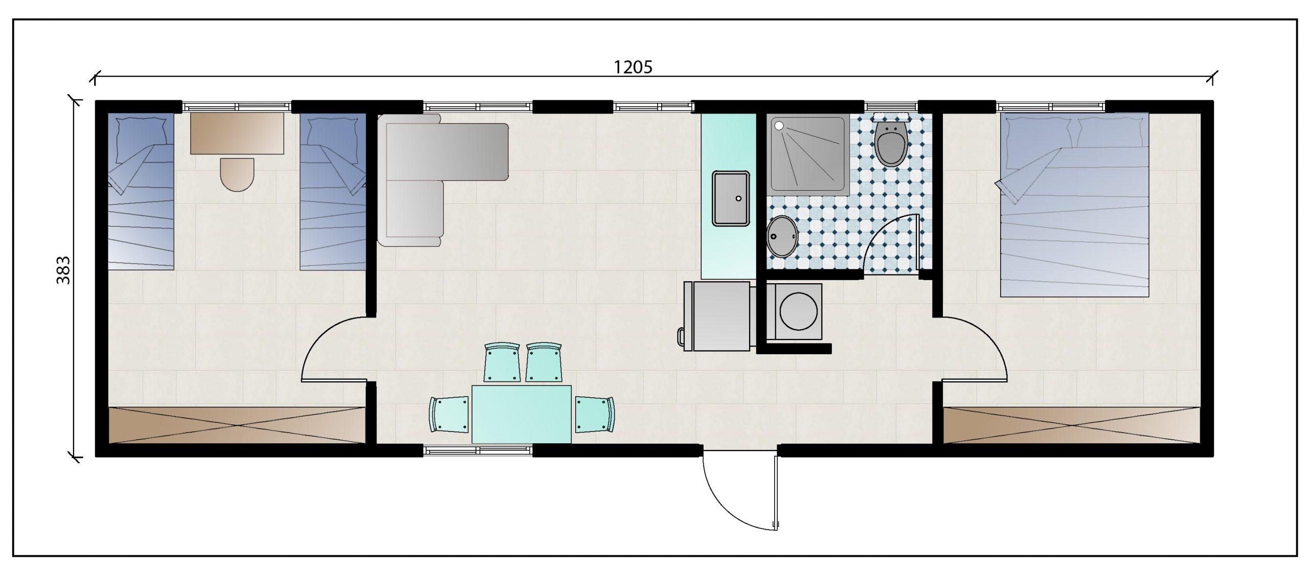"""תכנית מבנה יביל למגורים בגודל 45 מ""""ר"""