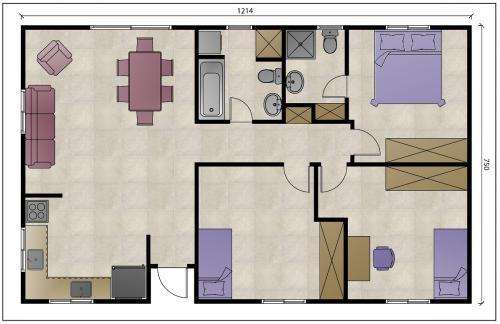 """מבנה נייד למגורים בגודל 90 מ""""ר עם ארון במסדרון - ללא ממ""""ד"""