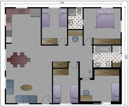 """תכנית מבנה למגורים בגודל 120 מ""""ר - עם ממ""""ד אופציה 2"""