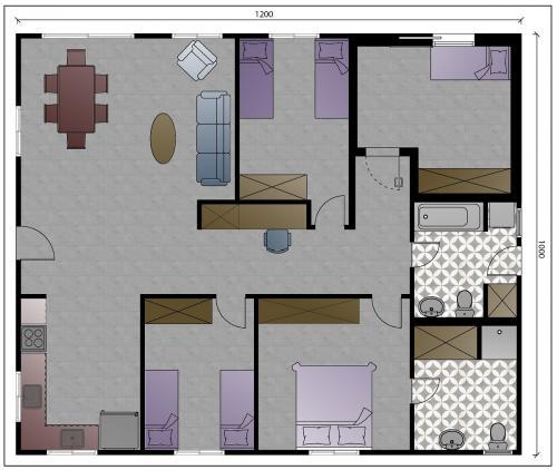 """תכנית מבנה למגורים בגודל 120 מ""""ר - עם ממ""""ד אופציה 1"""