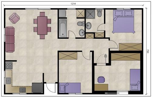 """מבנה נייד למגורים בגודל 90 מ""""ר עם ארון במסדרון - עם ממ""""ד"""